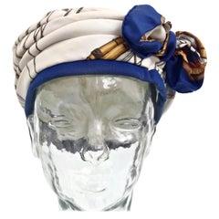Vintage HERMES Globe Silk Bow Turban Hat