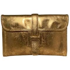 Vintage Hermes Gold Foil Jige Pm Clutch