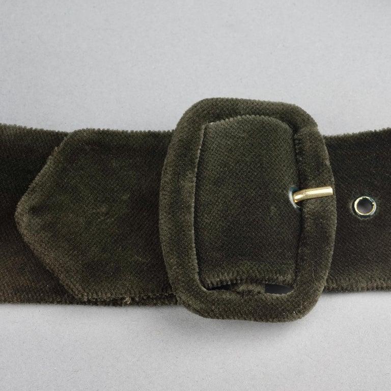 Vintage HERMES Gold Horn Moss Green Velvet Tuxedo Belt For Sale 5
