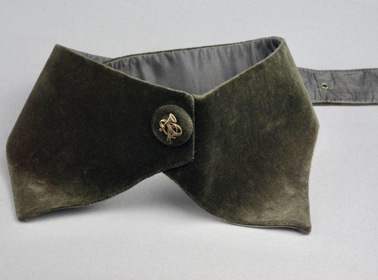 Black Vintage HERMES Gold Horn Moss Green Velvet Tuxedo Belt For Sale
