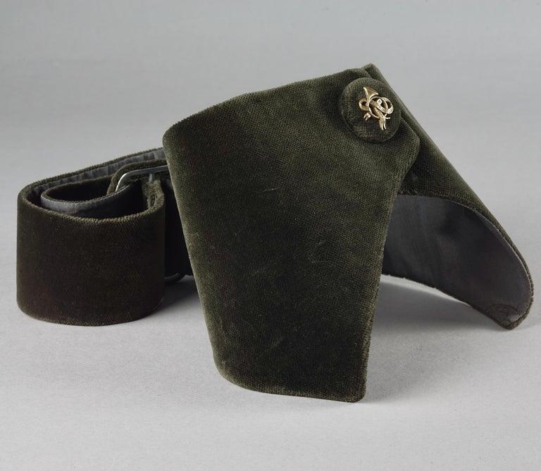 Women's or Men's Vintage HERMES Gold Horn Moss Green Velvet Tuxedo Belt For Sale