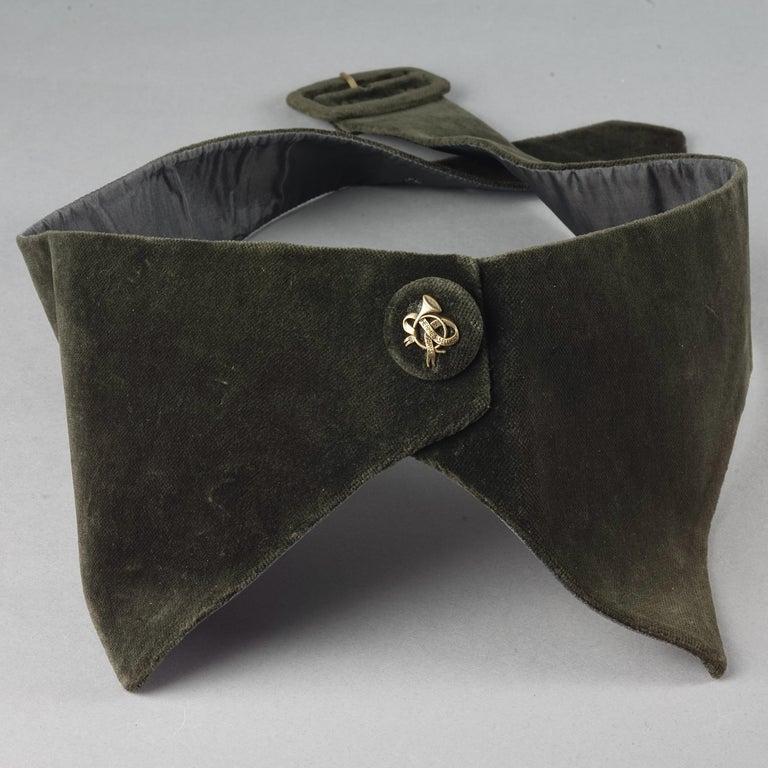 Vintage HERMES Gold Horn Moss Green Velvet Tuxedo Belt For Sale 1