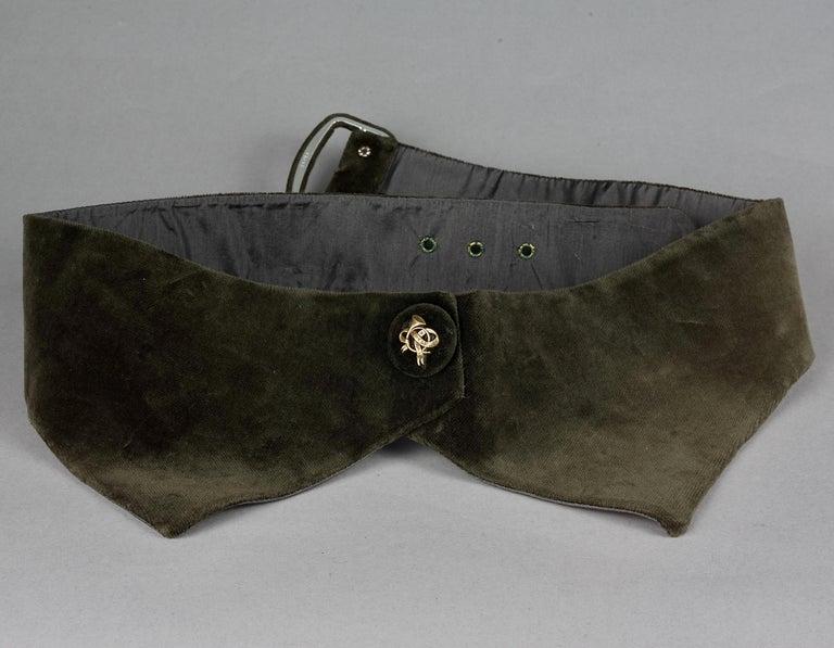 Vintage HERMES Gold Horn Moss Green Velvet Tuxedo Belt For Sale 2