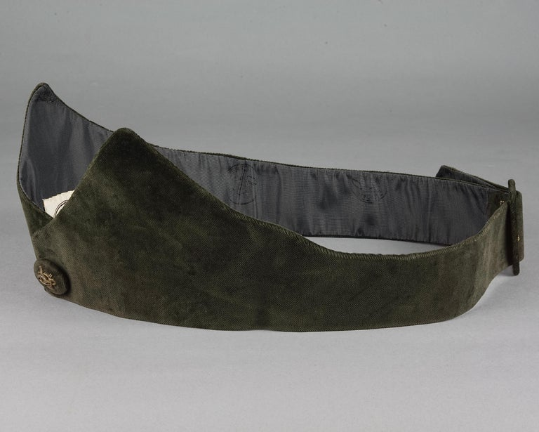 Vintage HERMES Gold Horn Moss Green Velvet Tuxedo Belt For Sale 4
