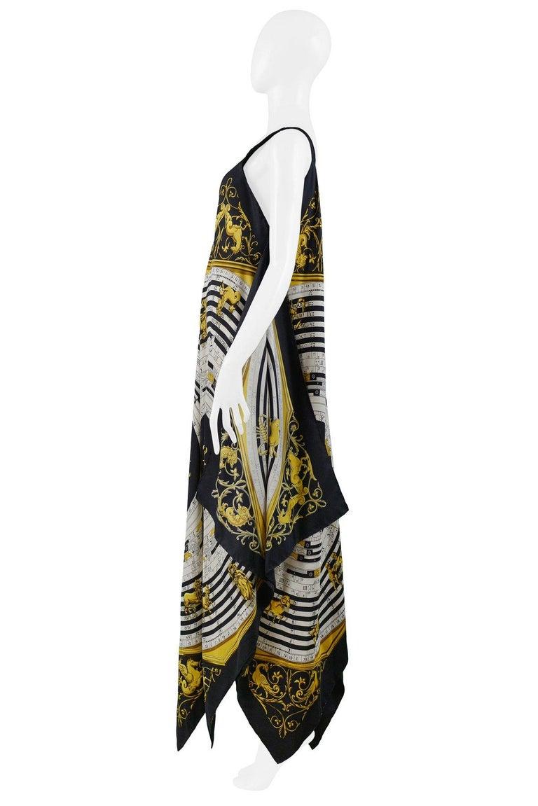 Black Vintage Hermes Gold Zodiac Print Scarf Maxi Dress For Sale