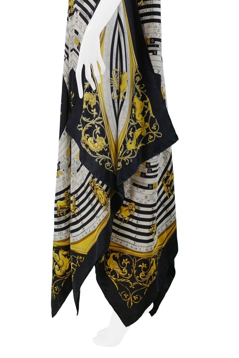 Women's Vintage Hermes Gold Zodiac Print Scarf Maxi Dress For Sale