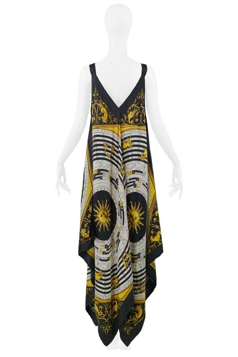 Vintage Hermes Gold Zodiac Print Scarf Maxi Dress For Sale 1