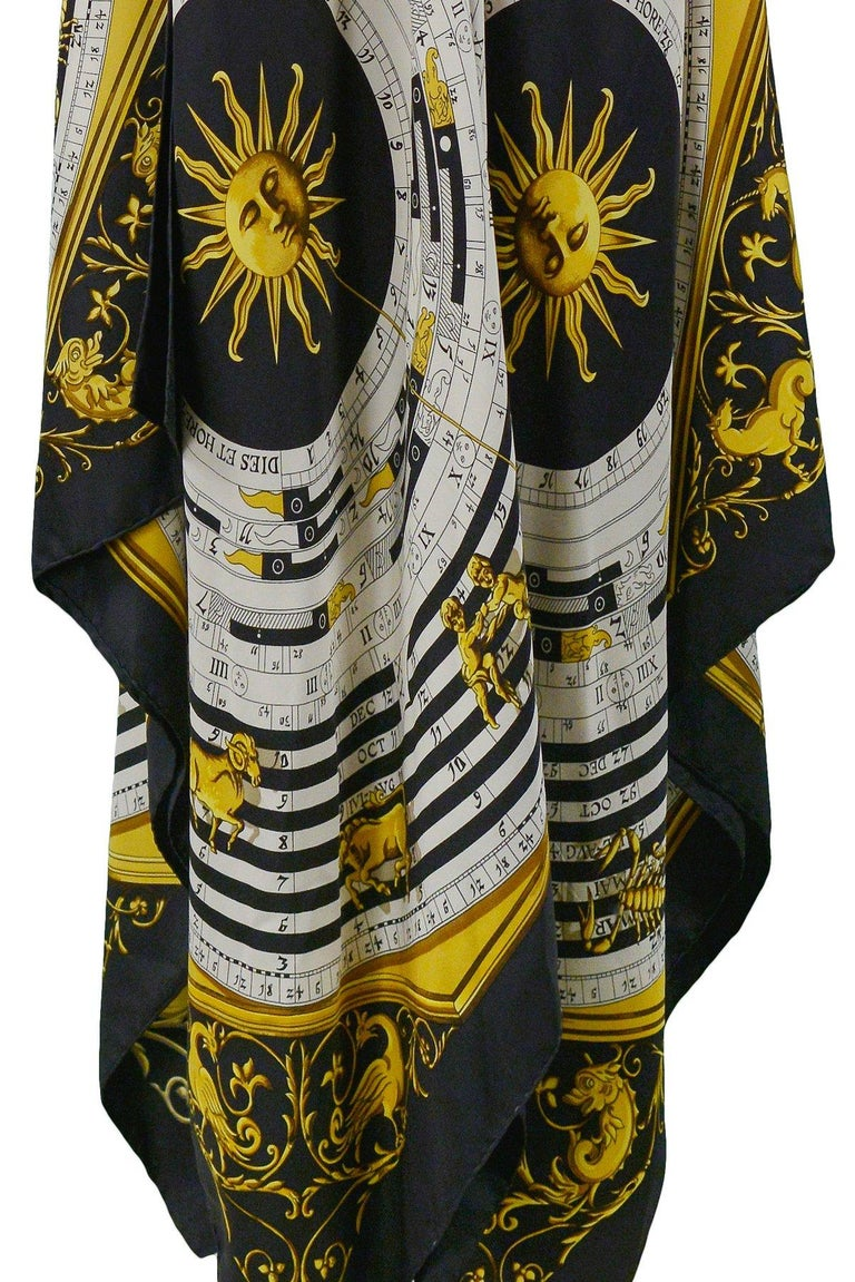 Vintage Hermes Gold Zodiac Print Scarf Maxi Dress For Sale 2