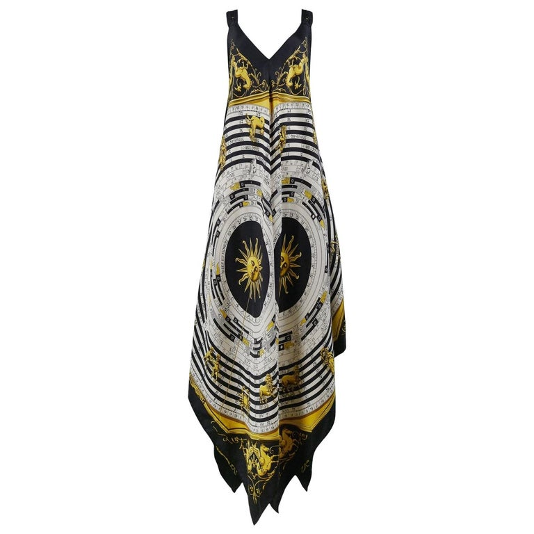 Vintage Hermes Gold Zodiac Print Scarf Maxi Dress For Sale