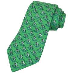 Vintage Hermes Green Silk Men's Necktie With Novelty Rocking Horse Print