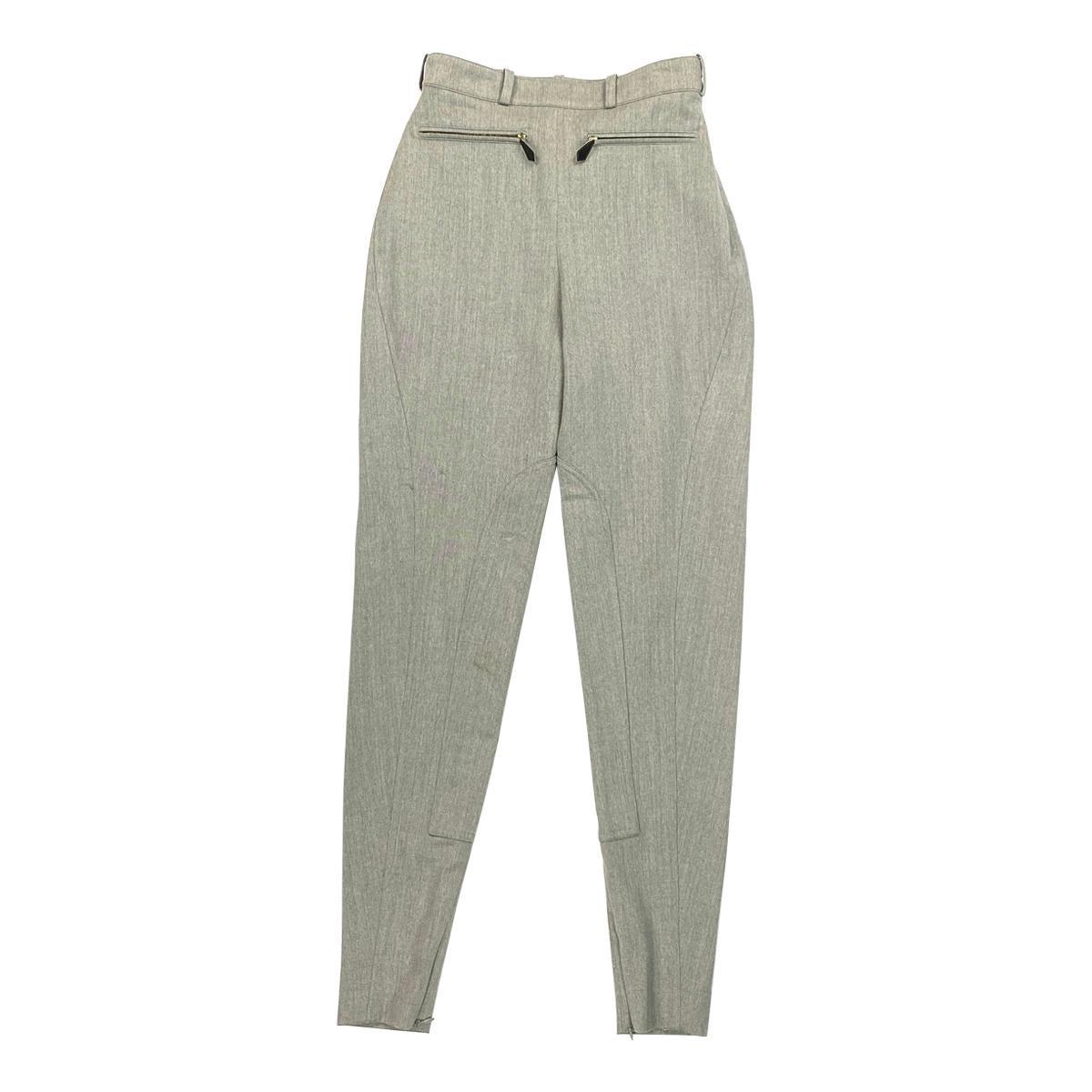 Vintage Hermes Grey Wool Riding Skinny Leggings Pants Size 38