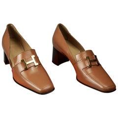 Vintage HERMES H Logo Leather Heel Loafer Shoes