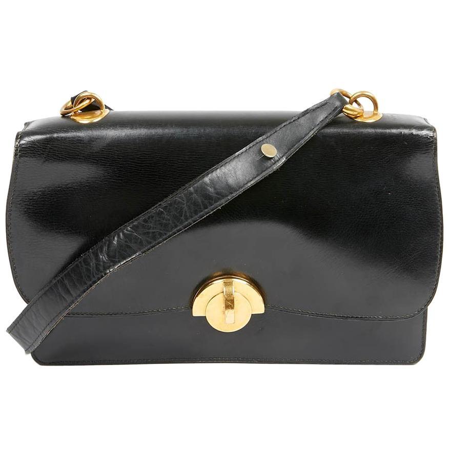 "Vintage Hermes ""Half Moon"" Black Box Calf Bag 1950"