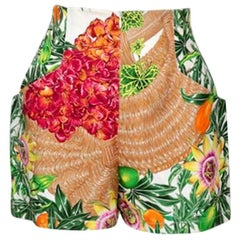 Vintage HERMES Jungle Palm Fruit Basket Silk Hot Pants Shorts