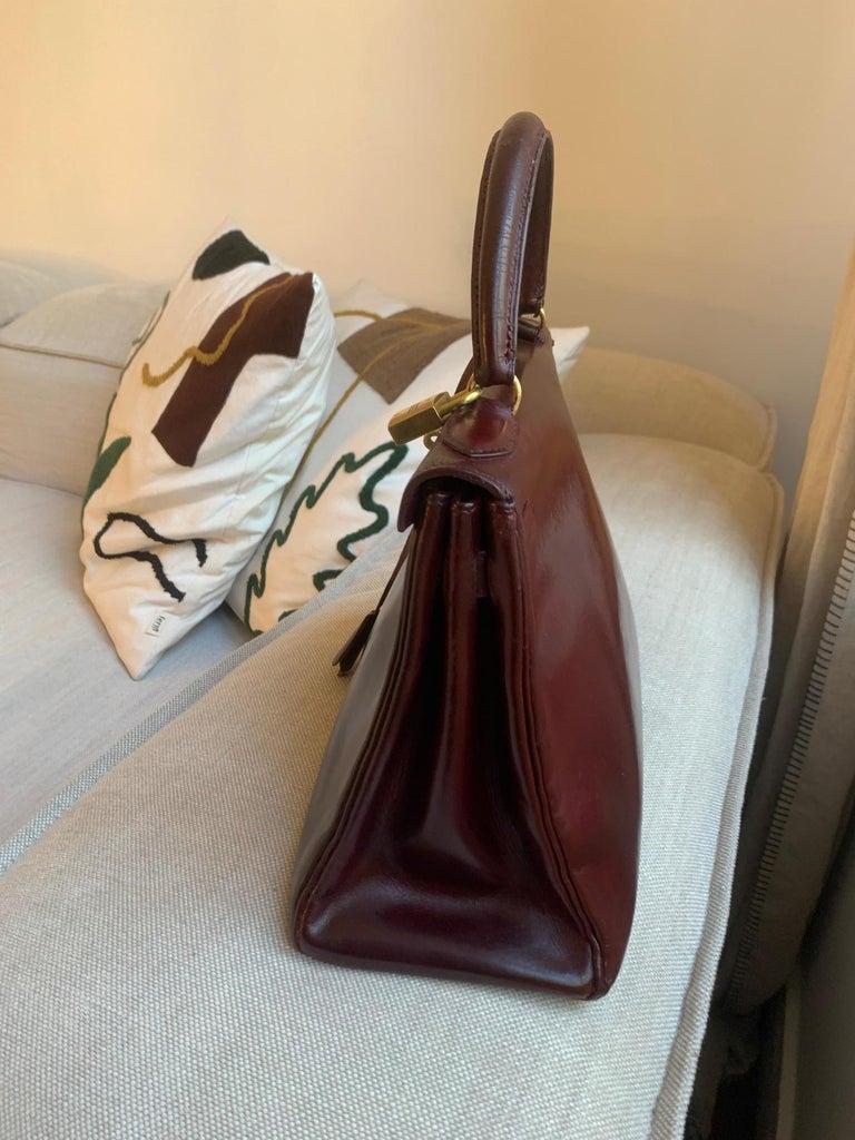 Vintage Hermès Kelly 28cm 1960 Burgundy leather 5