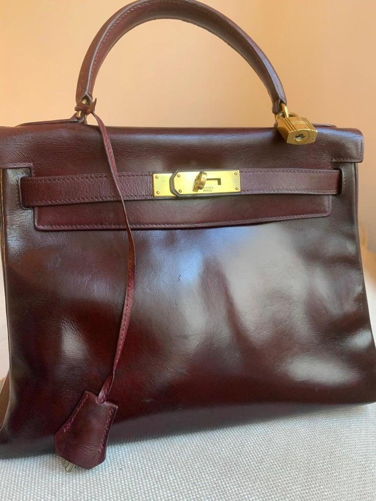 Vintage Hermès Kelly 28cm 1960 Burgundy leather 8