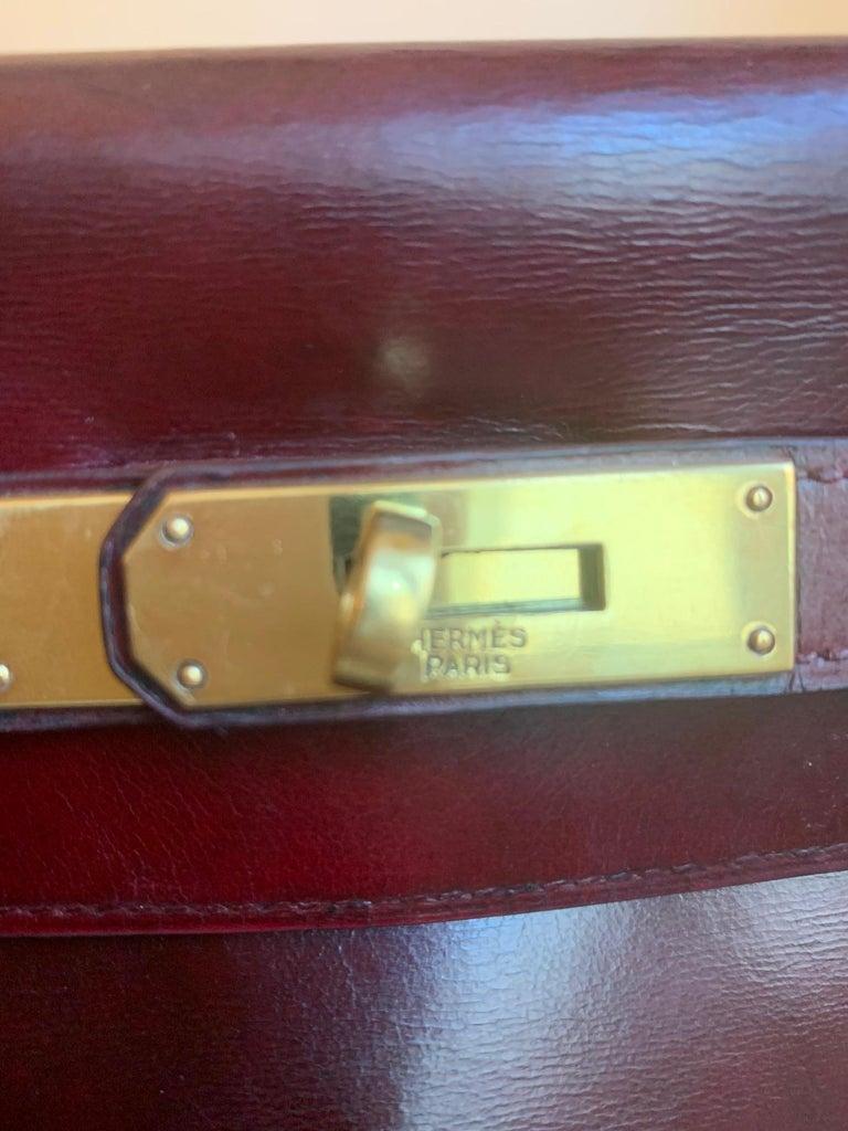 Black Vintage Hermès Kelly 28cm 1960 Burgundy leather