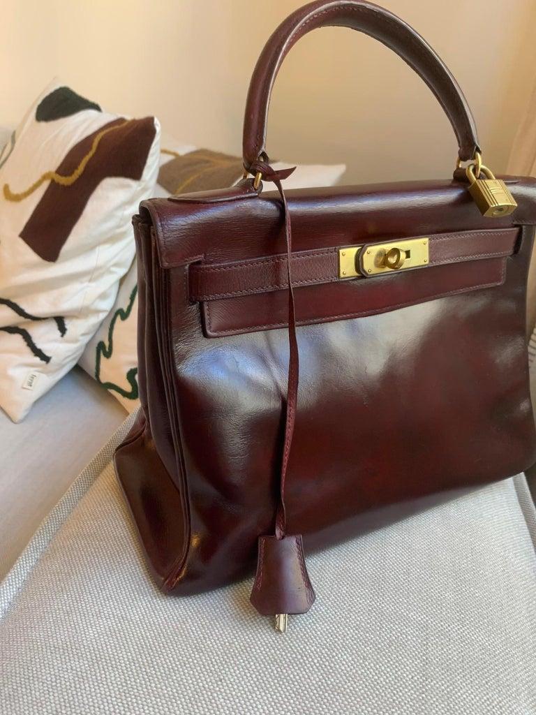 Vintage Hermès Kelly 28cm 1960 Burgundy leather 3