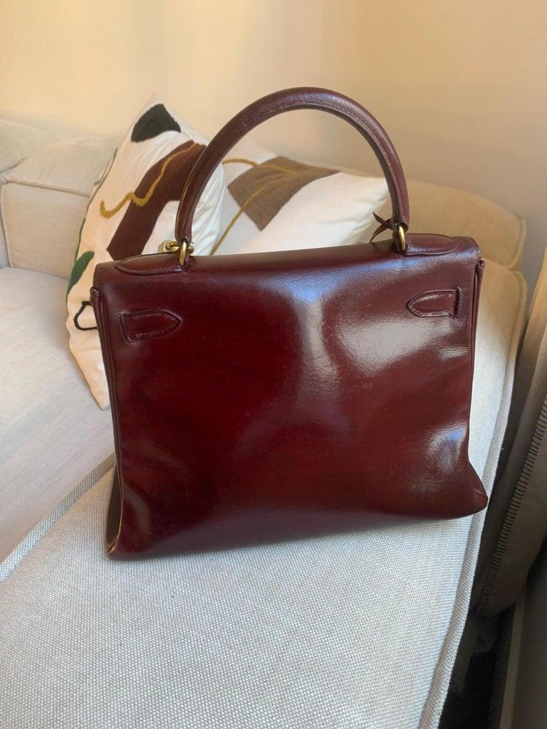 Vintage Hermès Kelly 28cm 1960 Burgundy leather 4