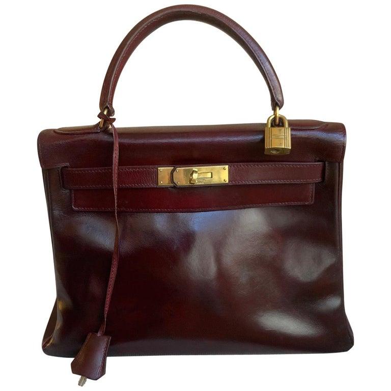 Vintage Hermès Kelly 28cm 1960 Burgundy leather