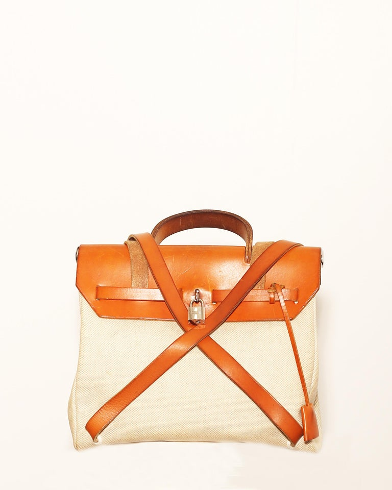 Gold  Hermes Herbag Zip Leather and Toile 39 For Sale
