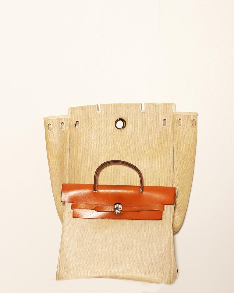 Women's or Men's  Hermes Herbag Zip Leather and Toile 39 For Sale
