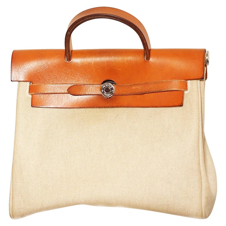 Hermes Herbag Zip Leather and Toile 39 For Sale