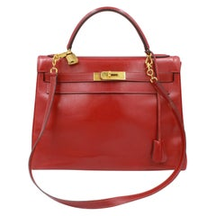 Vintage Hermes Kelly 32 in red box leather