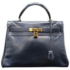 Vintage Hermès  Kelly Bag 32 Navy
