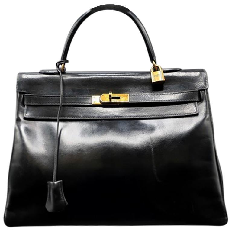 Vintage Hermès Kelly Bag  35 CM - Black For Sale