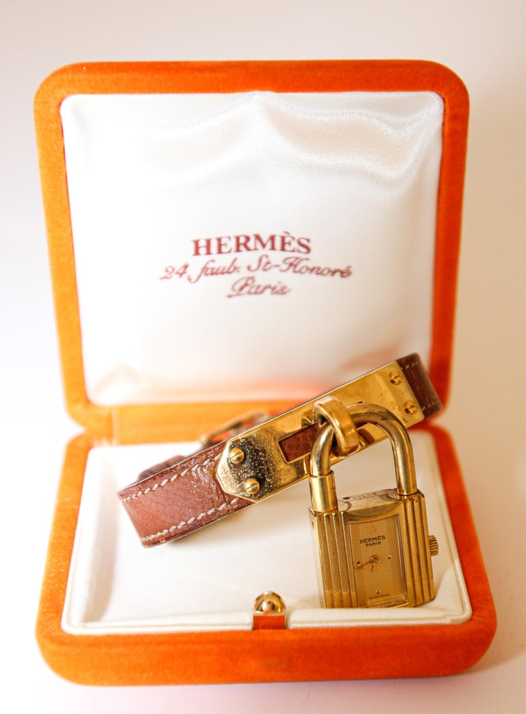 Vintage Hermes Kelly Watch Gold Plated For Sale 2
