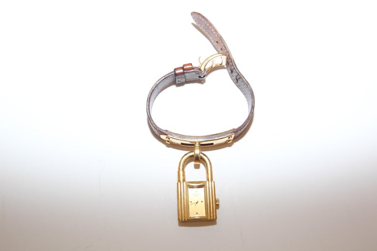 Vintage Hermes Kelly Watch Gold Plated For Sale 5