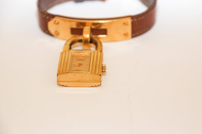 Vintage Hermes Kelly Watch Gold Plated For Sale 6