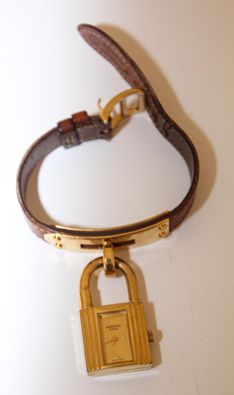 Vintage Hermes Kelly Watch Gold Plated For Sale 7