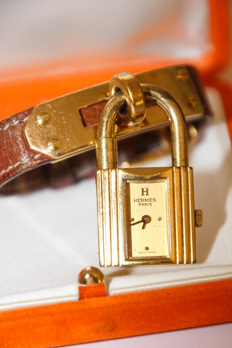 Vintage Hermes Kelly Watch Gold Plated For Sale 8