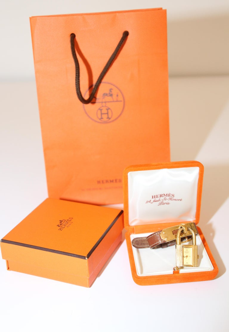 Vintage Hermes Kelly Watch Gold Plated For Sale 10