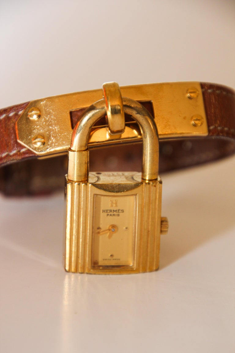 Organic Modern Vintage Hermes Kelly Watch Gold Plated For Sale