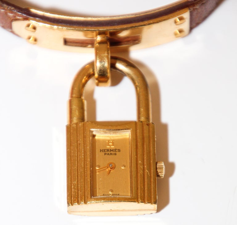 French Vintage Hermes Kelly Watch Gold Plated For Sale