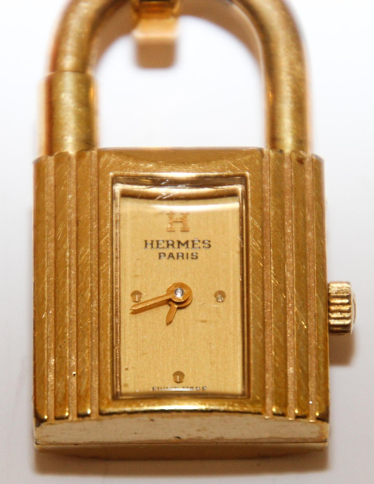 Hand-Crafted Vintage Hermes Kelly Watch Gold Plated For Sale