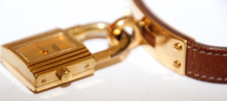 Vintage Hermes Kelly Watch Gold Plated In Fair Condition For Sale In North Hollywood, CA