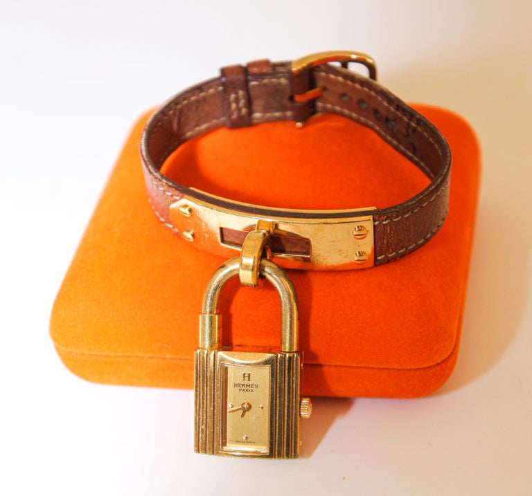 Leather Vintage Hermes Kelly Watch Gold Plated For Sale