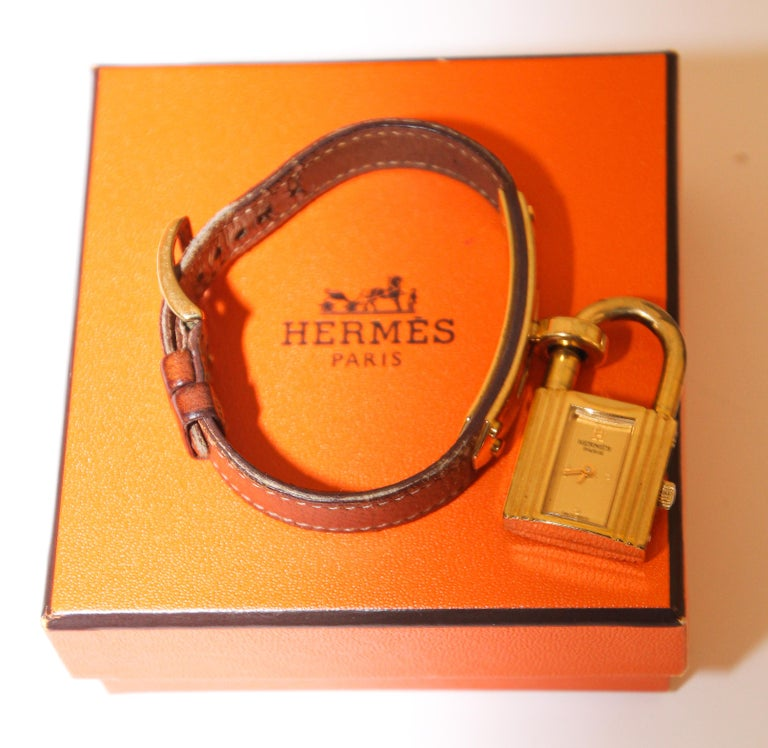 Vintage Hermes Kelly Watch Gold Plated For Sale 1
