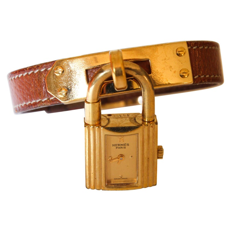 Vintage Hermes Kelly Watch Gold Plated For Sale