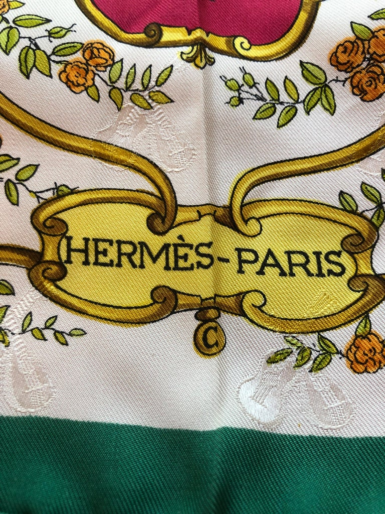 Vintage HERMES La Comedie Italienne Jacquard Silk Scarf by Philippe Ledoux For Sale 5