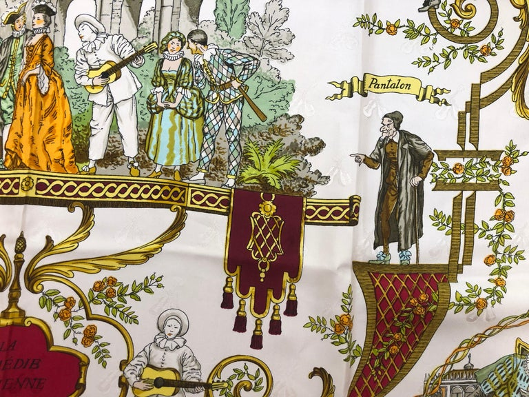 Vintage HERMES La Comedie Italienne Jacquard Silk Scarf by Philippe Ledoux In Excellent Condition For Sale In Port Hope, ON