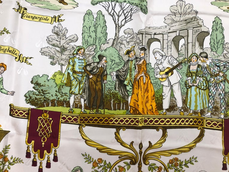 Women's Vintage HERMES La Comedie Italienne Jacquard Silk Scarf by Philippe Ledoux For Sale
