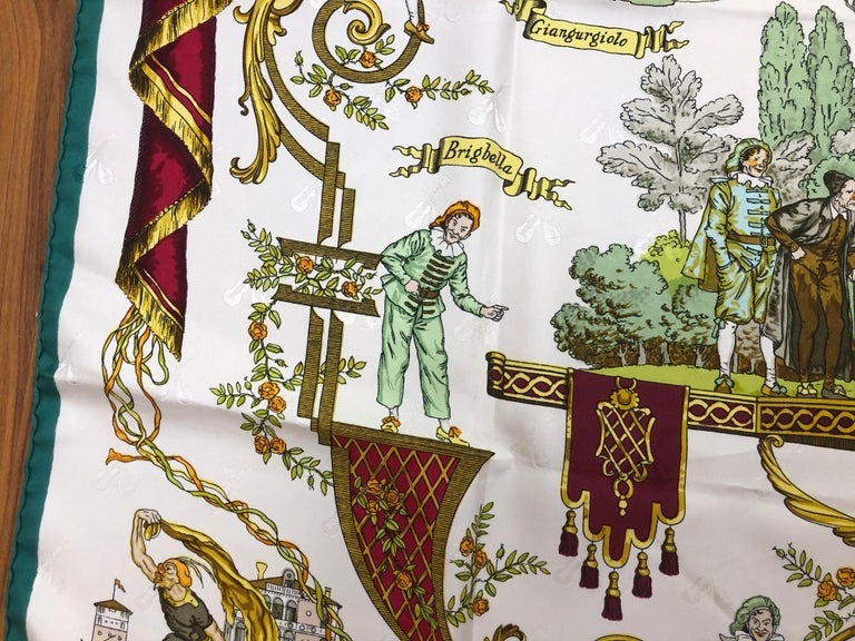 Vintage HERMES La Comedie Italienne Jacquard Silk Scarf by Philippe Ledoux For Sale 1