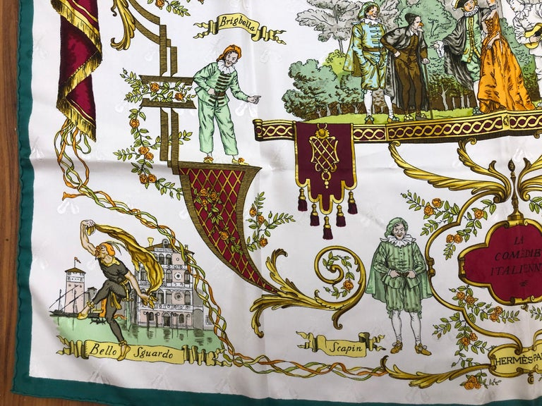 Vintage HERMES La Comedie Italienne Jacquard Silk Scarf by Philippe Ledoux For Sale 2