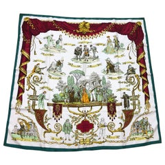 Vintage HERMES La Comedie Italienne Jacquard Silk Scarf by Philippe Ledoux