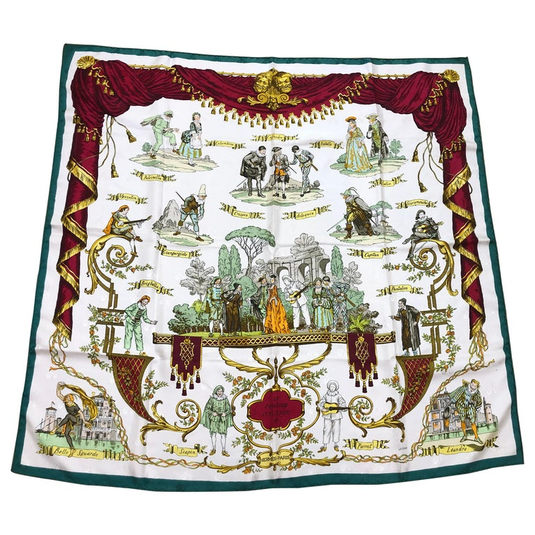 Vintage HERMES La Comedie Italienne Jacquard Silk Scarf by Philippe Ledoux For Sale